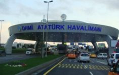Security officers checking two Ukrainian airplanes Istanbul Airport for bomb threat