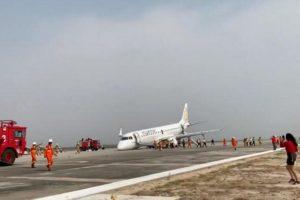 E190 nose gear up landing
